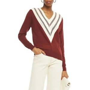NWT SANDRO Jone Chevron-Detail  Brown Sweater